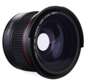 K&F Concept 58MM Fisheye 0.35X HD Ultra Claro Ojo de Pez